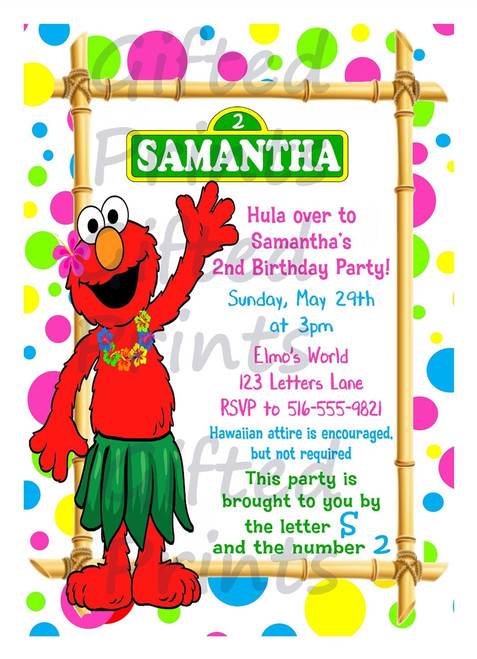 Elmo Luau Birthday Invitation