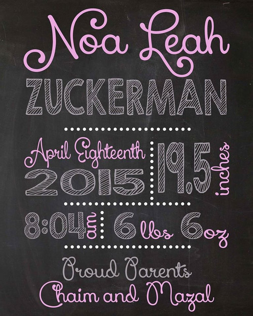 Birth Announcement Wall Hanging, Chalkboard Print