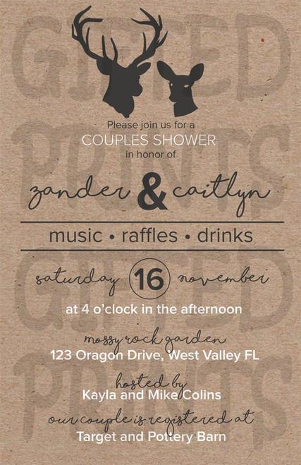 Stag & Doe Couples Bridal Shower Invitation 1
