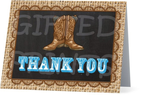 Folded Boots or Bows Thank You Card Texture Sack Border
