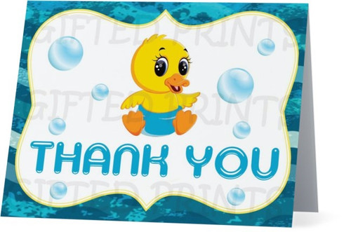 Folded Waddle It Be Thank You Card Baby Ducks & Bubbles