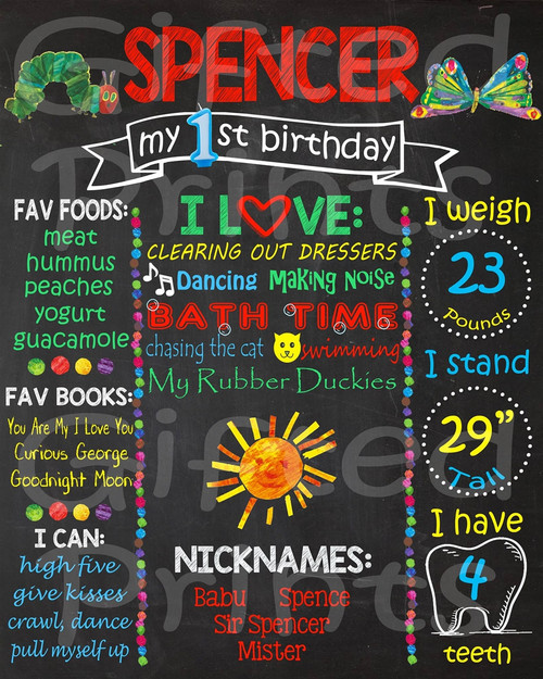 Hungry Caterpillar Birthday Chalkboard
