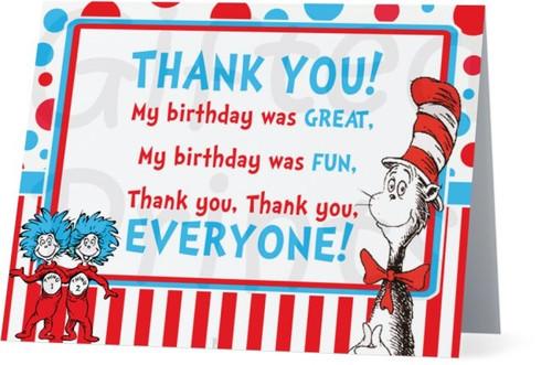 Folded Dr Seuss Thank You Card
