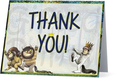 Folded Where The Wild Things Are Thank You Card