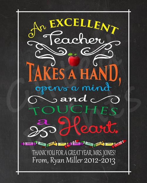Teacher Gift, Excellent Teacher Print