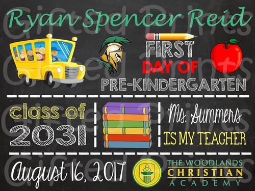 School Themed First Day of School Chalkboard