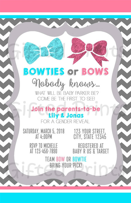 Bows or Bowties Gender Reveal Invitation Chevron Background