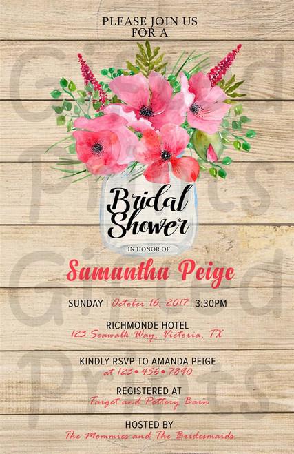Shabby Chic Floral Bridal Shower Invitation