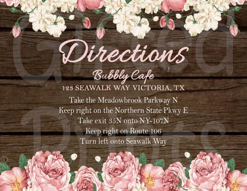 Shabby Chic Floral Invitation Insert 1