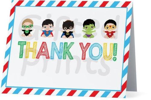 Folded Superhero Thank You Card