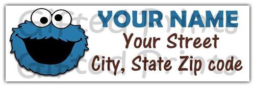Cookie Monster Sesame Street Return Address Labels Stripes