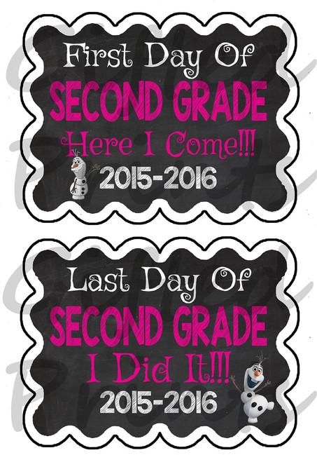First Day/Last Day of School Chalkboard - Olaf Theme