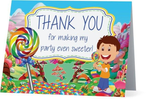 Folded Candy Land Thank You Card