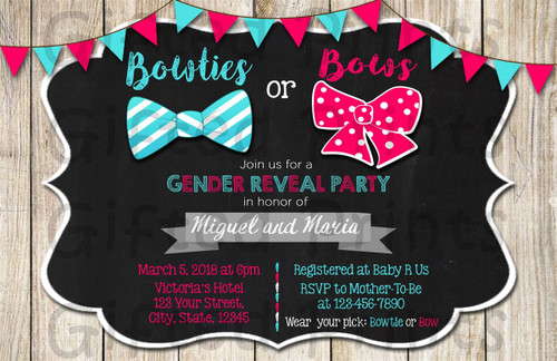 Bows or Bowties Gender Reveal Invitation Wood Background