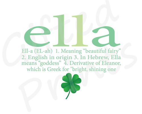Name Meaning Print, Shamrock Theme