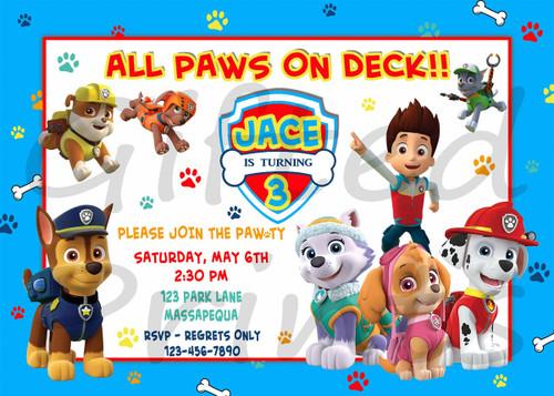 Paw Patrol Birthday Invitation 1