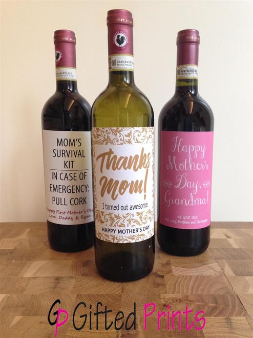 Thanks Mom Wine Label