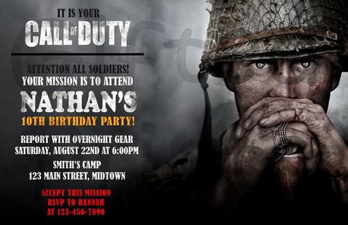 Call of Duty WWII Birthday Invitation