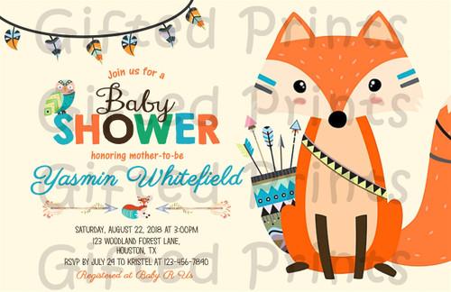 Woodland Baby Shower Invitation Tribal Fox