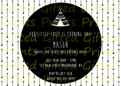 Tribal Little Chief Birthday Invitation