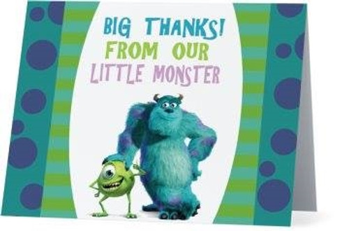 Folded Monsters Inc Thank You Card