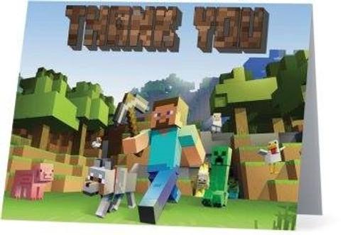 Folded Minecraft Thank You Card