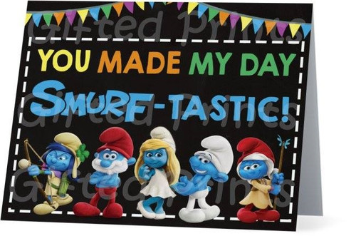 Folded Smurfs Thank You Card