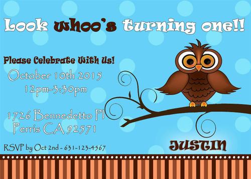 Owl Birthday Invitation 2