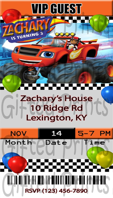 Blaze and the Monster Machines VIP Guest Ticket Birthday Invitation
