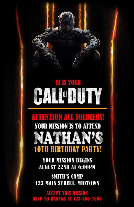 Call of Duty Black Ops Birthday Invitation