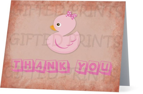 Folded What The Duck Vintage Thank You Card