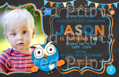Giggle & Hoot Owl Birthday Invitation Boy Theme With Picture