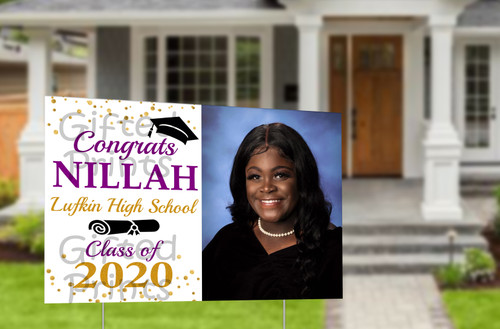 "Graduation Yard Sign With Photo 3'x2' (36""x24"")"