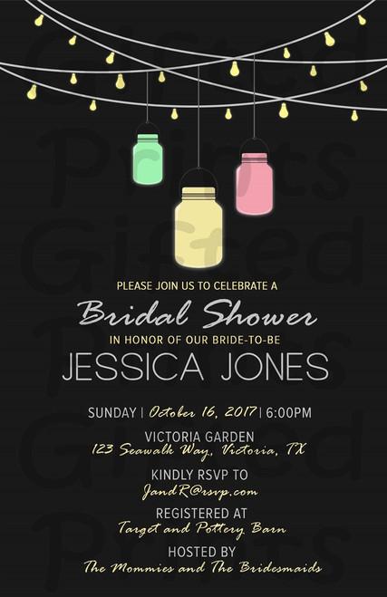 Mason Jar and String Lights Backyard Bridal Shower Invitation