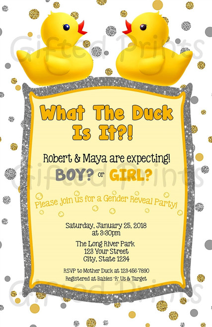 What The Duck Rubber Ducky & Glitter Gender Reveal Invitation