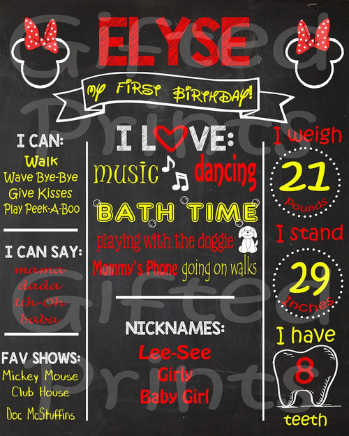 Red Mouse Birthday Chalkboard