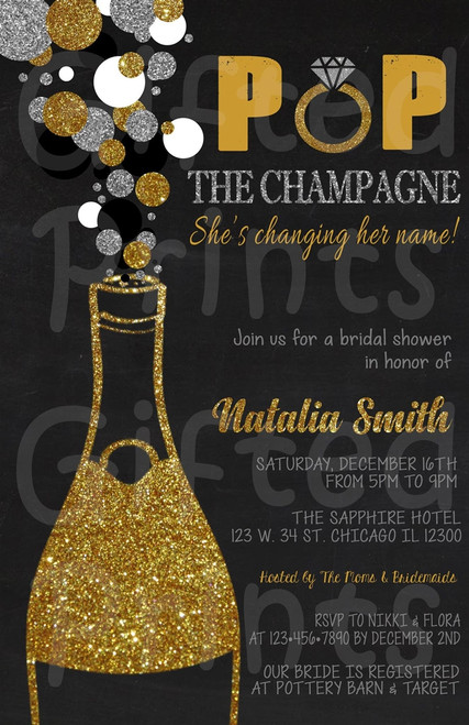 Pop the Champagne Bridal Shower Invitation 1