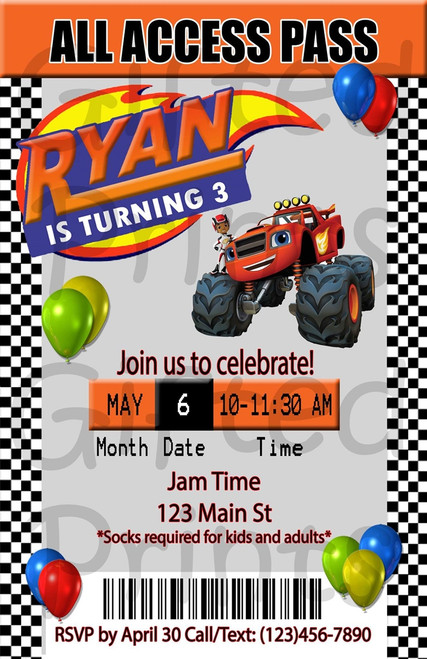 Blaze and the Monster Machines Birthday Invitation