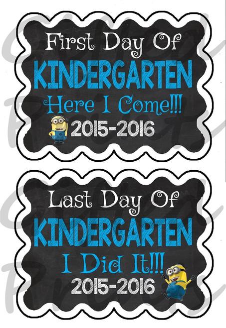 First Day/Last Day of School Chalkboard - Minion Theme