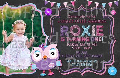 Giggle & Hoot Owl Birthday Invitation Girl Theme With Picture