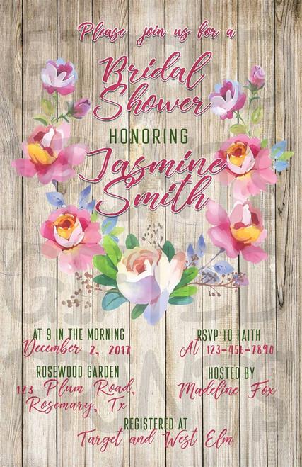 Rustic Floral Bridal Shower Invitation 1