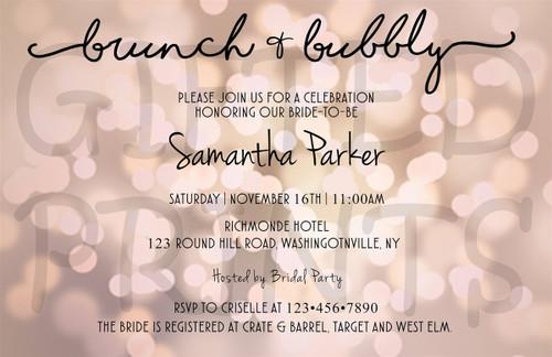 Brunch & Bubbly Bridal Shower Invitation Pink Bubble Background