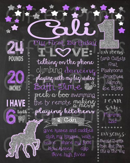 Unicorn and Stars Birthday Chalkboard Purple and Silver Theme