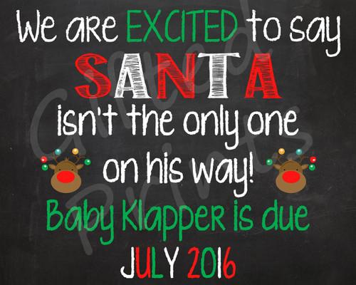 Pregnancy Announcement, Santa-Themed