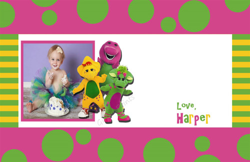 Barney Thank You Card With Picture