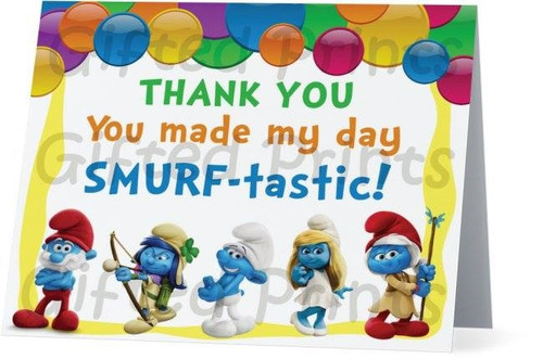 Folded Smurfs Thank You Card 1