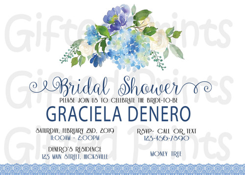 Rustic Floral Bridal Shower Invitation Blue Theme