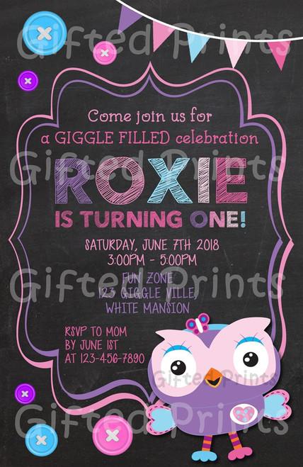 Giggle & Hoot Owl Birthday Invitation Girl Themed