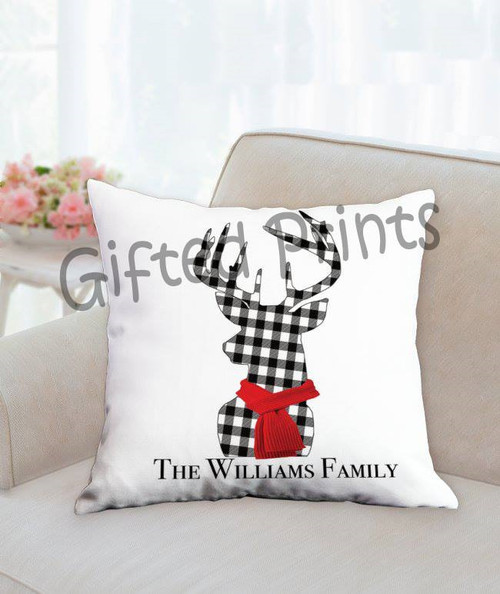 Plaid Reindeer Family Pillow