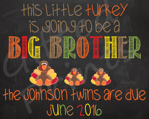 Twin Pregnancy Announcement, Thanksgiving Themed